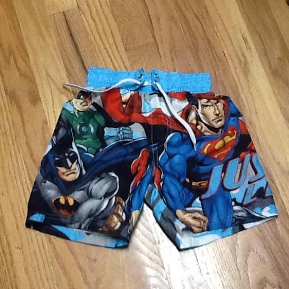 0992db22a7b36 DC Comics Swim | Boys 45 Justice League Trunks Euc | Poshmark